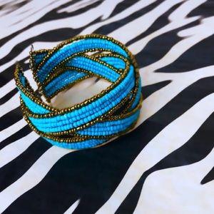 Beaded Turquoise & Bronze Cuff Bracelet